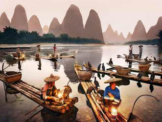 Li River Fishermen, After Sunset