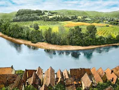 House and Fields, Dordogne River